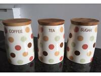 Tea, Coffee, Sugar Containers with Spot Design - Not been used £14