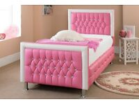 princess single leather crystal bed pink/blue/white/red color and more