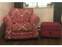 Armchair with storage box footstool