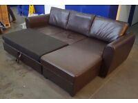 SCS Brown L Shape Corner Sofa/Bed/Storage