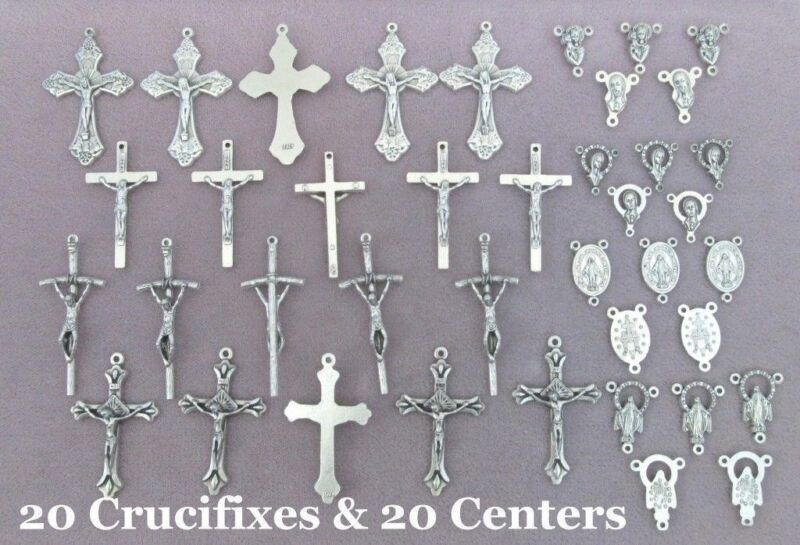 40 Crucifixes Centers centerpieces Making Rosary Italian ITALY Rosaries Part LOT