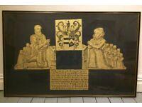 Large Elizabethan Gold Black Grave Gothic Picture Art C.1593 Framed (125 x 80cm)
