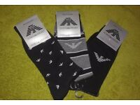 3 x EMPORIO ARMANI MINI EAGLES, GREY/BLACK STRIPED & BLACK W/ LOGO ELITE DESIGNER SOCKS - ONE SIZE
