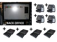 i5 BACK OFFICE & 4 x EPOS Tills with NEW Touch Screen with 4 x NEW Cash Drawers- Software INCLUDED