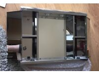 ** NEW ** STAINLESS STEEL BATHROOM MIRRORED CABINET WITH LIGHTS
