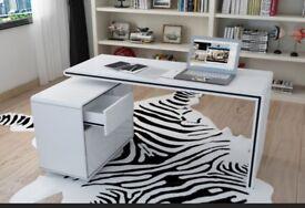 Vienetta White Gloss Corner Office Desk, All glossy white, 120 x 60 x 76 cm