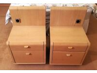 Pair of Hulsta Wooden Oak Bedside Tables with Storage Heavy - 70cm x 45cm x 40cm