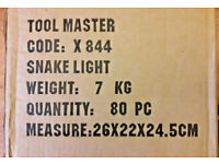 BOX OF 80 TOOL MASTER FLEXIBLE SNAKE LED LIGHTs CODE x844 CLIP ON READING LAMPs*