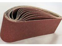Brand new 10x Sanding Belt 75x533 Grit 36 - 100 belt sander sand paper endless wood metal