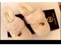 Michael Kors faux fur slippers 100% genuine size 5 was £140 boxed fab gift CARTER diamond quilted