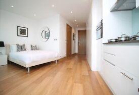Modern, Furnished, Luxury Studio in Canary Wharf with balcony , with Gym, Pool, E14 MB