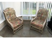 Conservatory furniture, sturdy cane , 2 chairs and 1 coffee table