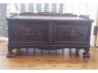 Antique Carved Wooden Chest / Trunk