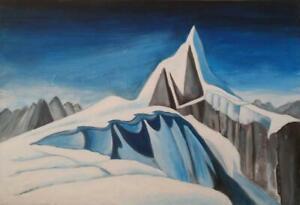 LAWREN HARRIS STUDY ART STUDENT 26X38 Blues White Winter Scene Mountain Group of Seven Wood frame