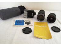 Two vintage camera lenses, case, Chinon flashgun Auto S-250