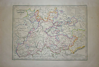 1834 Genuine Antique map Central Germany. Malte-Brun