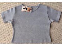 Women's Grey Cropped Short Sleeve T-Shirt Size Large BNWT