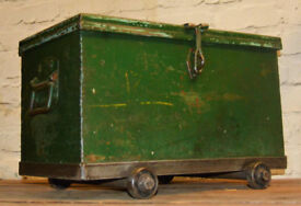 Small 1950s steel factory cabinet box industrial trunk antique vintage haberdashery storage drawer