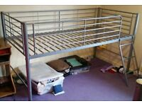 mid sleeper metal bed frame, grey colour. In excellent condition.