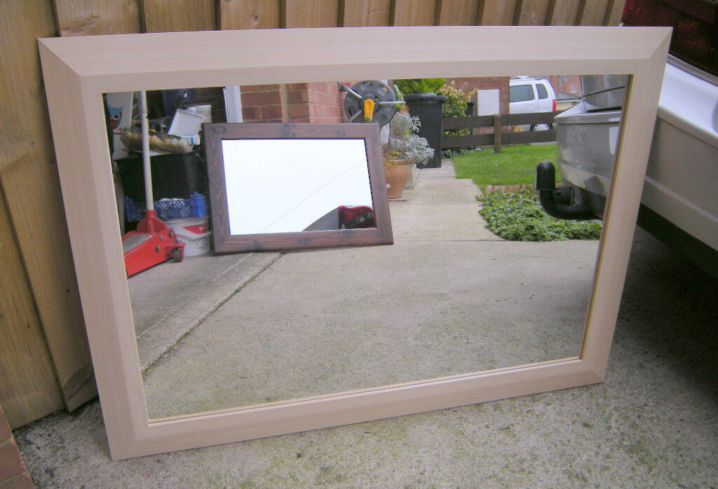 Large Framed Mirror Light Beech (Swindon)