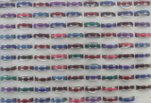 50pcs Wholesale Bulk Lots Mixed Color Enamel Jewelry Rotation Alloy Unisex Rings