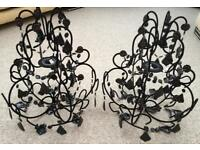 Two Large Black Decorative Ceiling Light Shades