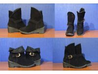 Women's Ankle boots in faux suede, black size 3 or 4