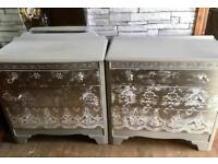 Upcycled vintage chest of drawers & matching dressing table,with mirror