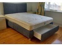 Blue Upholstered King Size Divan Bed with Mattress and Drawer at the End