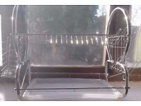 Home Living 2 Tier Deluxe Dish Drainer Drying Rack in Stylish Chrome & White.