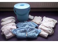 15 BumGenius V4 Adjustable Cloth Nappies / Diapers & Accessories - Blue & White - Used