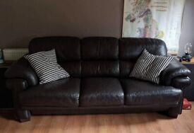 3 Seater Leather Sofa - Dark Brown
