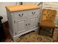*FREE DELIVERY* Vintage Style Solid Pine Sideboard Lockable Dresser Shabby Chic Grey (farmhouse)