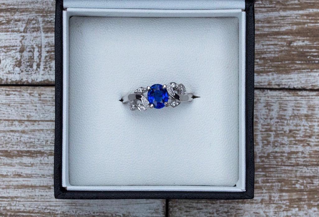 Sapphire ring, engagement ring, white gold ring, 14k white gold