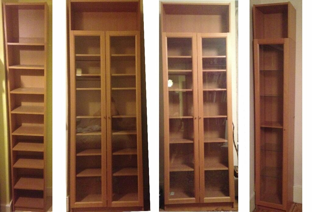set of ikea billy oxberg glass fronted bookcases birch