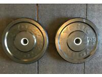"""York Fitness 20kg x2 (2"""") Olympic Rubber Bumper Weight Plates"""