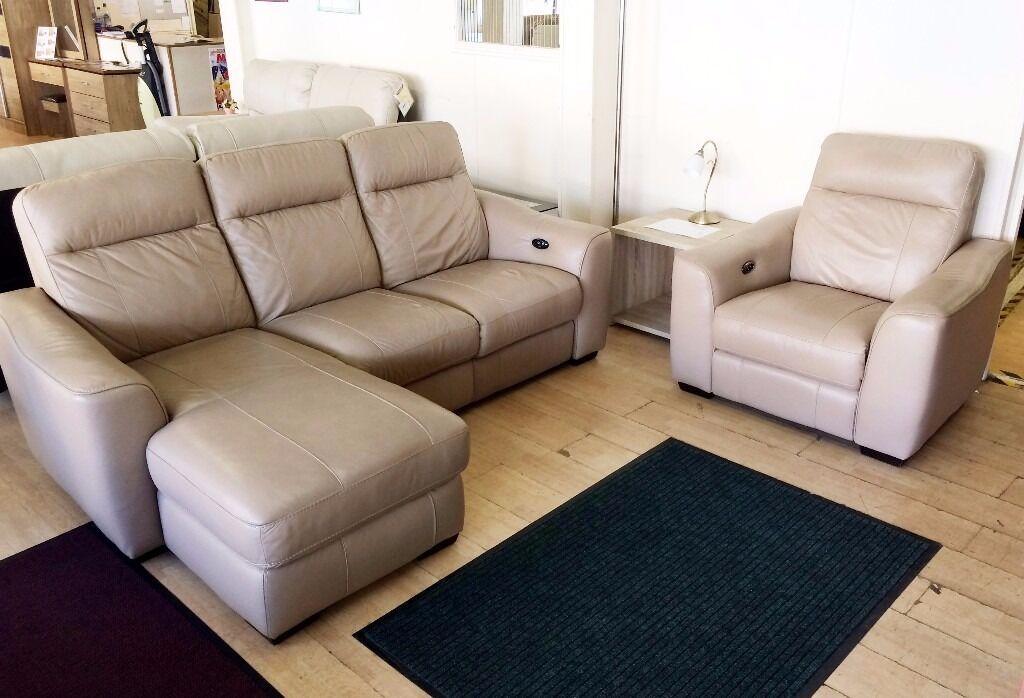 Furniture Village Delivery beige leather electric recliner sofa suite (furniture village