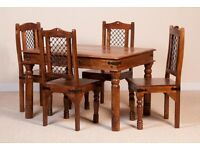 Jali/Thakat Dining Chairs with metalwork back inserts (6 Chairs)