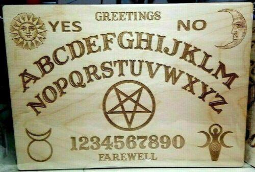 Wooden Ouija Board & Planchette w/ Pentagram, Wiccan Goddess & God | Homemade
