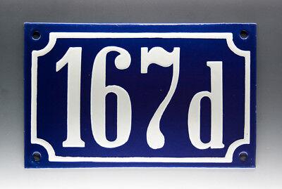 EMAILLE, EMAIL-HAUSNUMMER 167d in BLAU/WEISS um 1955