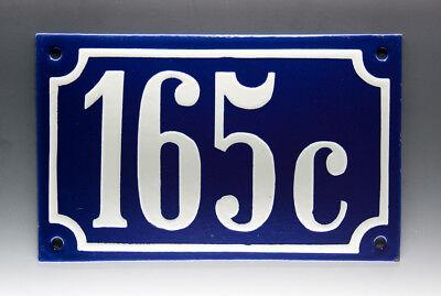 EMAILLE, EMAIL-HAUSNUMMER 165c in BLAU/WEISS um 1955