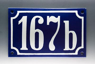 EMAILLE, EMAIL-HAUSNUMMER 167b in BLAU/WEISS um 1955
