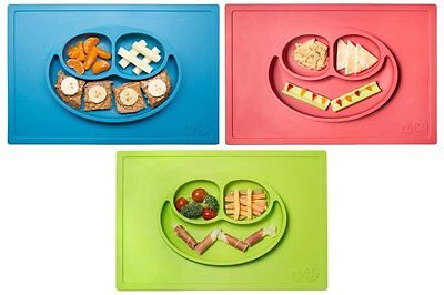 *NEW* ezpz Happy Mat - One-piece silicone placemat + plate Lime/Blue/Coral - One
