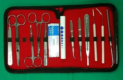 17 Pcs Student Biology Dissection Dissecting Kit W Sterile Surgical Blade 15