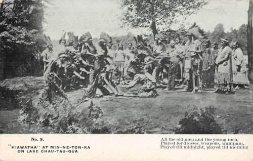 GLEN ISLAND, NEW ROCHELLE, NY HIAWATHA INDIAN PAGEANT ADV PC MOORE PUB used 1910
