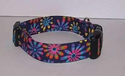 Wet Nose Designs Colorful Fun Flowers Dog Collar on Blue Spring Floral Summer  - Fun Dog Collars