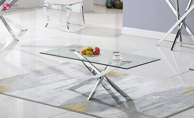 Diseñador Mesita Baja Acero Inox. Templado Vidrio Mesa de Salón 120x60x45 CM