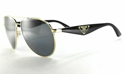 PRADA Sunglasses SPS 53Q ZVN-5Z1 Black Gray Gold Aviator /Gray Polarized (Prada Polarized Aviator Sunglasses)