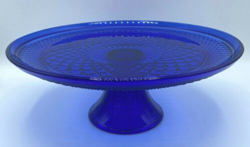 "Anchor Hocking Wexford Cobalt Blue Cake Stand 12"" Excellent Condition"