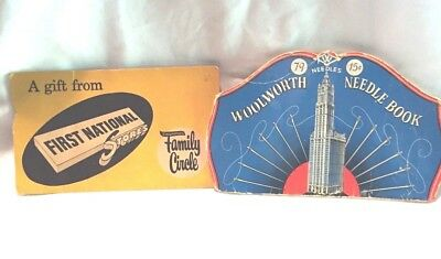 VINTAGE ADVERTISING SEWING NEEDLE BOOKS STORES WOOLWORTH'S FAMILY CIRCLE NICKLE